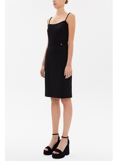 Societa Askılı Mini  Elbise 93129 Siyah